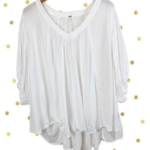 Free People white oversized blouse top v-neck